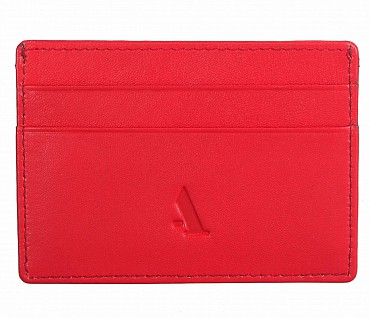 W271--Credit card holder with transparent slot in Genuine leather - Red