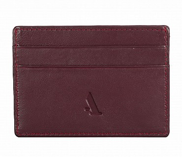W271--Credit card holder with transparent slot in Genuine leather - Wine