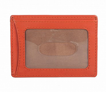 W271--Credit card holder with transparent slot in Genuine leather - Orange