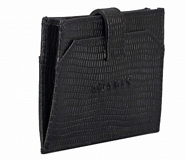 W272--Credit Card cum business card holder in Genuine leather - Black/Wine