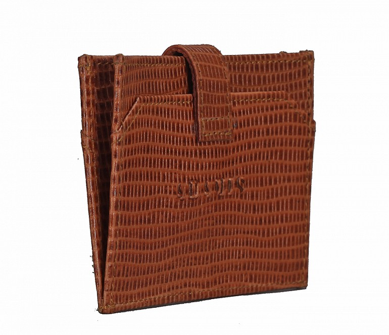 W272--Credit Card cum business card holder in Genuine leather - Tan/Brown