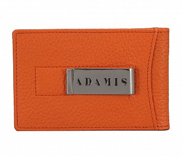 W275--Bi-fold wallet with card holder & money clip in Genuine leather - Orange