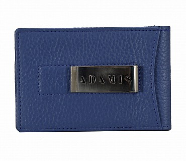 W275--Bi-fold wallet with card holder & money clip in Genuine leather - Royalblue