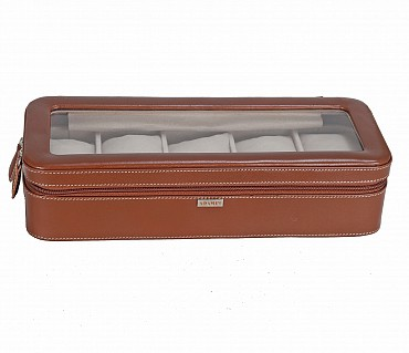 W277--Watch case to hold 5 watches in Genuine Leather - Tan