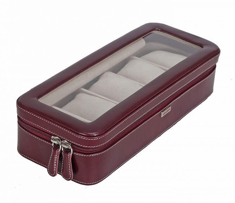 W277--Watch case to hold 5 watches in Genuine Leather - Wine