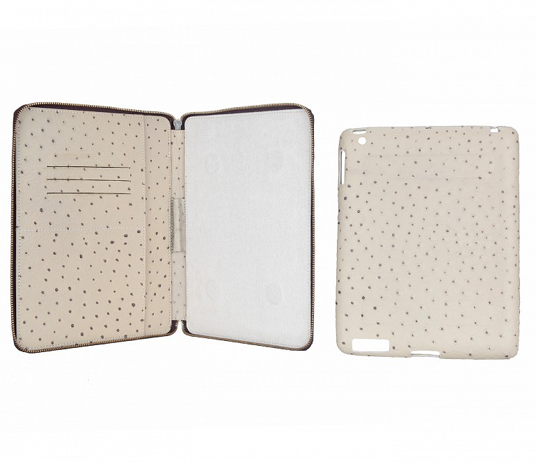 W279--Ipad air cover with magnetic tray in Genuine Leather - Beige