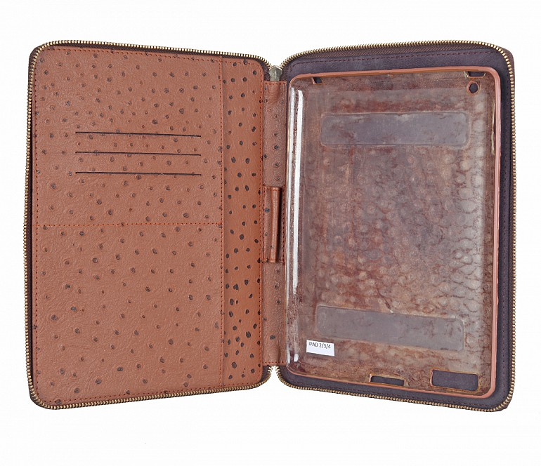 W279--Ipad air cover with magnetic tray in Genuine Leather - Tan