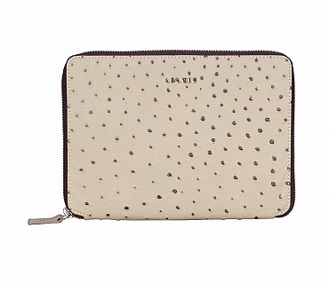 W281--Ipad mini cover with magnetic tray in Genuine Leather - Offwhite
