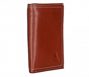 W282-Samuel -Mens's trifold wallet with photo id in Genuine Leather - Tan