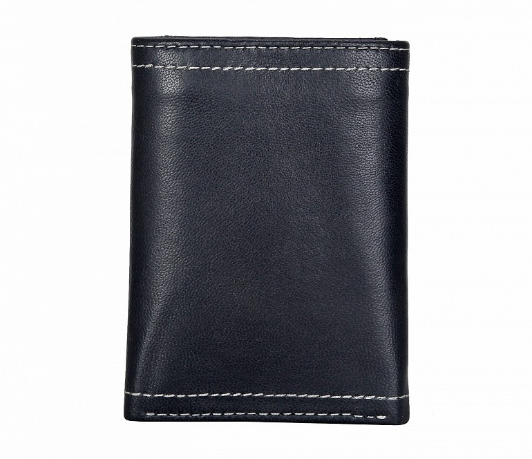 W282-Samuel -Mens's trifold wallet with photo id in Genuine Leather - Black