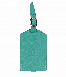 W283--Luggage, Recognising tag in Genuine Leather - Seagreen
