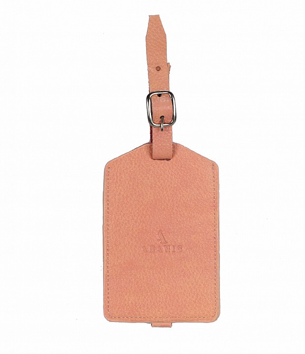 W283--Luggage, Recognising tag in Genuine Leather - Pink.