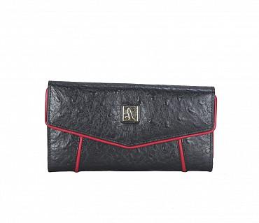 W284-Ivy-Women's tri fold wallet in Genuine Leather - Black