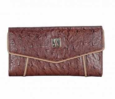 W284-Ivy-Women's tri fold wallet in Genuine Leather - Brown.