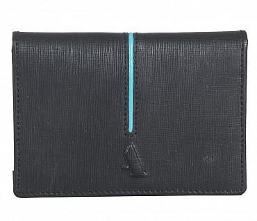 W302--Credit card cum business card case in Genuine Leather - Black