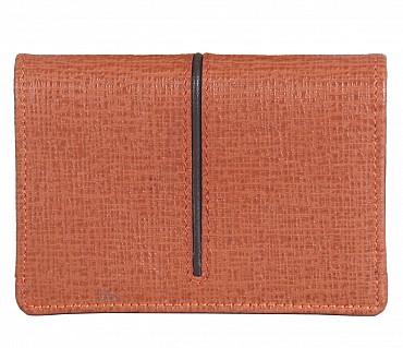 W302--Credit card cum business card case in Genuine Leather - Tan