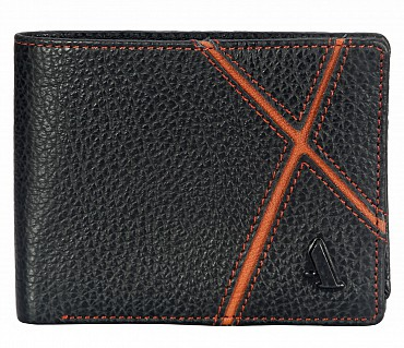 W311-Claus-Men's bifold wallet with photo id in Genuine Leather - Black