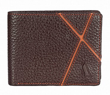 W311-Claus-Men's bifold wallet with photo id in Genuine Leather - Brown