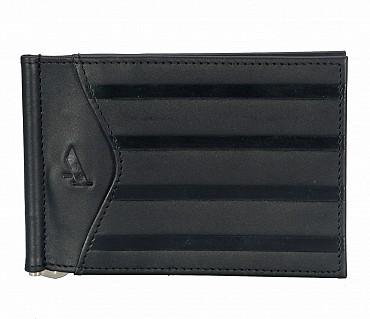 W312-Carl -Men's money clip cum card case wallet in Genuine Leather - Black