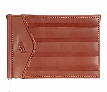 W312-Carl -Men's money clip cum card case wallet in Genuine Leather - Tan