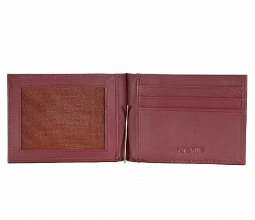 W312-Carl -Men's money clip cum card case wallet in Genuine Leather - Wine