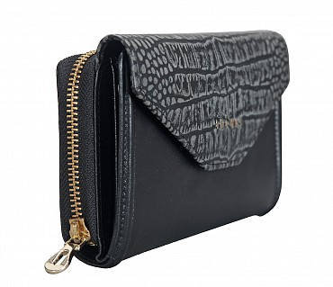 W315-Carolina-Women's bifold wallet in Genuine Leather  - Black