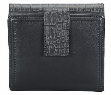 W316-Carolina-Women's bifold wallet in Genuine Leather - Black