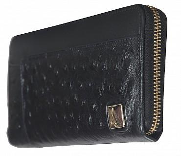 W317-Beyonce-Women's wallet cum clutch in Genuine Leather - Black