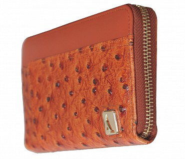 W317-Beyonce-Women's wallet cum clutch in Genuine Leather - Orange