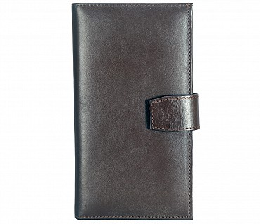 W323-Cameron-Women's wallet with mobile holder in Genuine Leather - Brown