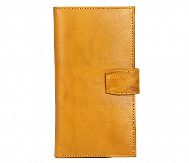 W323-Cameron-Women's wallet with mobile holder in Genuine Leather - Yellow