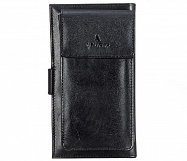 W323-Cameron-Women's wallet with mobile holder in Genuine Leather - Black