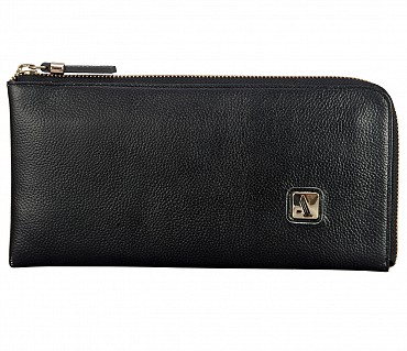 W324-Blake-Women's wallet cum clutch in Genuine Leather - Black