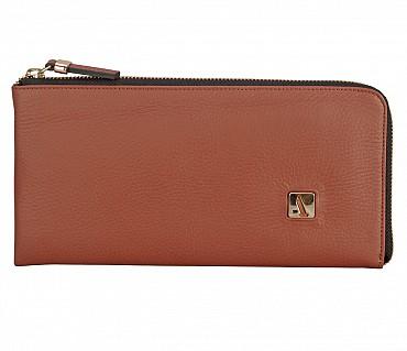 W324-Blake-Women's wallet cum clutch in Genuine Leather - Brown
