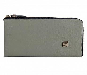 W324-Blake-Women's wallet cum clutch in Genuine Leather - Grey