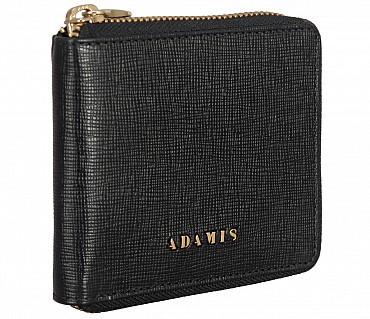 W325-Denzel-Men's bifold zip wallet in Genuine Leather - Black