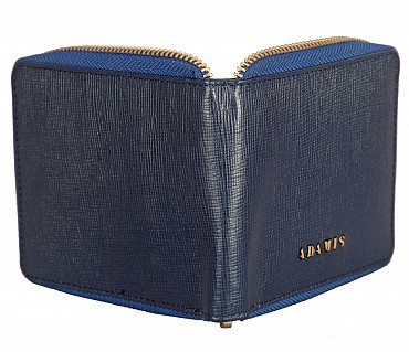 W325-Denzel-Men's bifold zip wallet in Genuine Leather - Blue