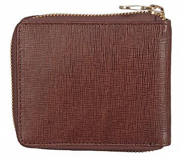 W325-Denzel-Men's bifold zip wallet in Genuine Leather - Brown