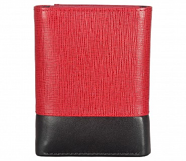 W326-Bradley-Men's trifold wallet with photo id in Genuine Leather - Red/Black
