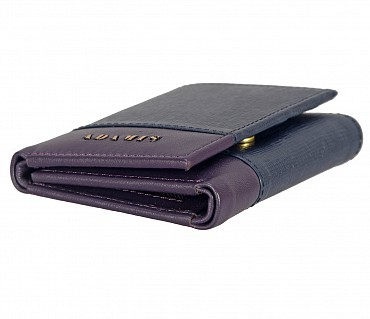 W326-Bradley-Men's trifold wallet with photo id in Genuine Leather - BLUE/PURPLE