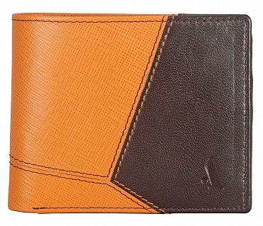 W327-Pedro-Men's bifold wallet with coin pocket in Genuine Leather - Tan/Brown