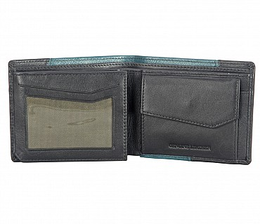 W327-Pedro-Men's bifold wallet with coin pocket in Genuine Leather - Green/Black