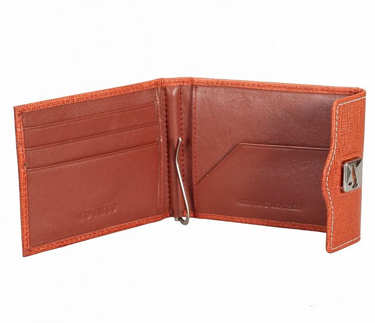 W328-Noah-Men's bifold money clip wallet in Genuine Leather - Tan