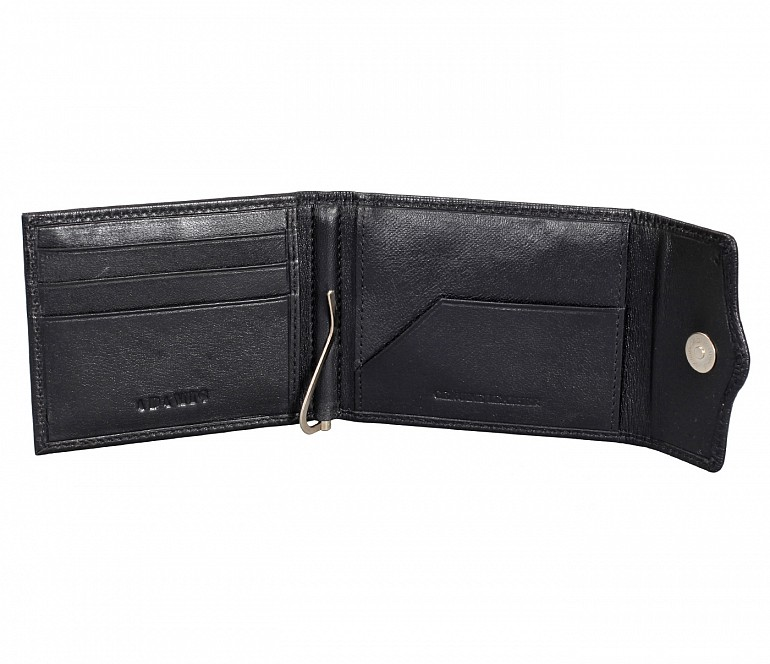 W328-Noah-Men's bifold money clip wallet in Genuine Leather - Black