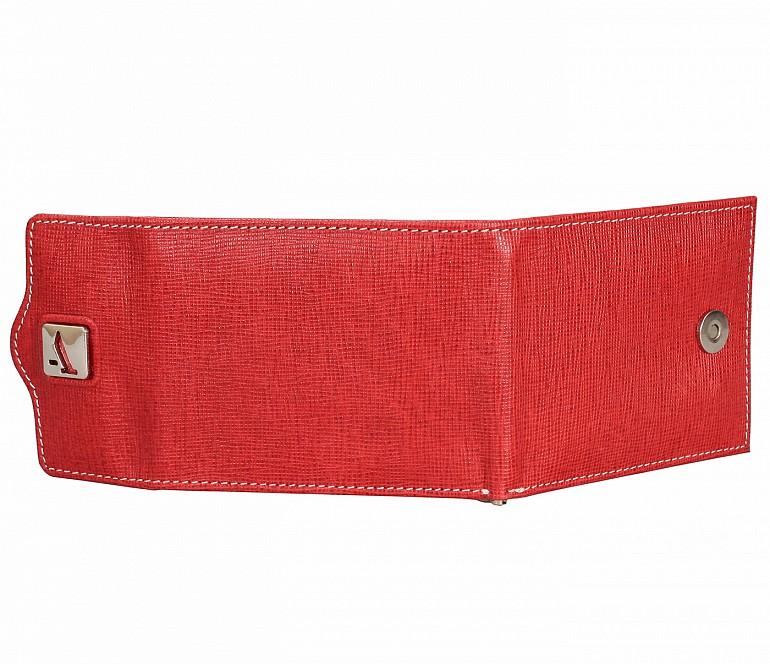 W328-Noah-Men's bifold money clip wallet in Genuine Leather - Red