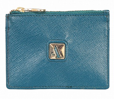 W331-Credit card case with photo Id in genuine leather- - Green
