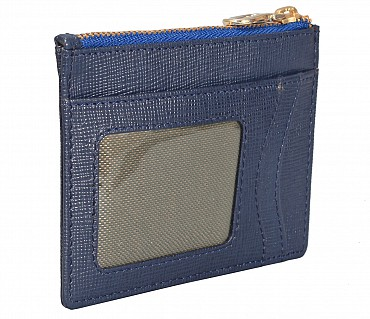 W331-Credit card case with photo Id in genuine leather- - Blue