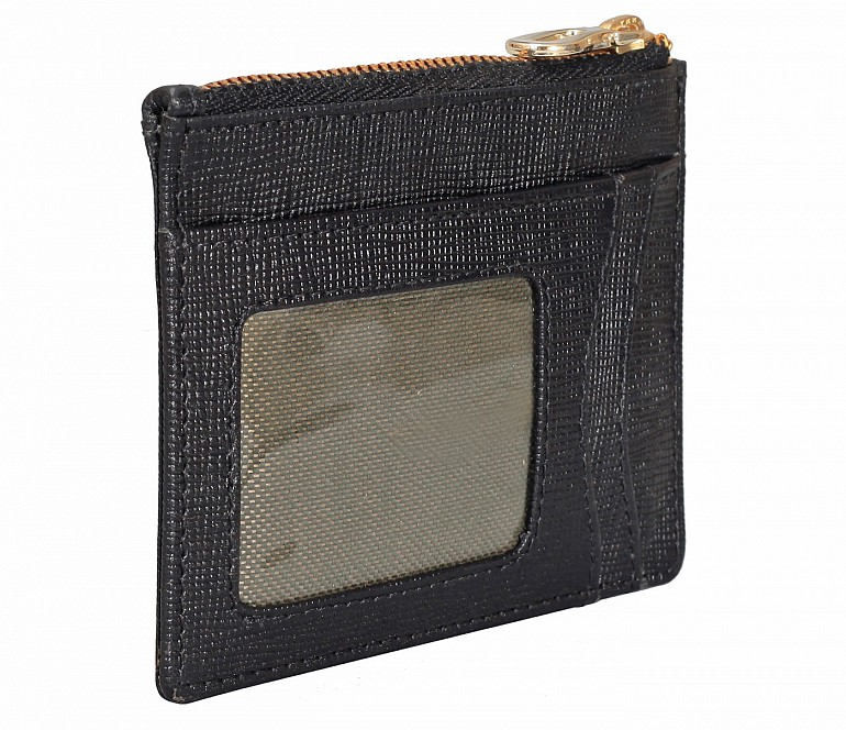 W331-Credit card case with photo Id in genuine leather- - Black