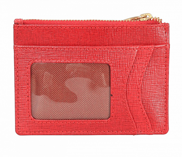 W331-Credit card case with photo Id in genuine leather- - Red