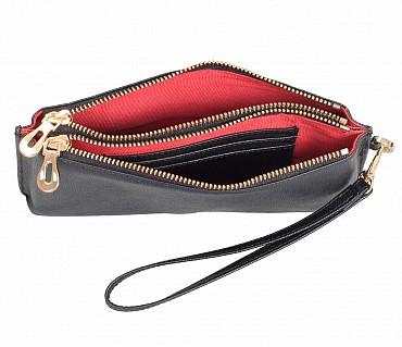 W332-Adriana-Women's wallet cum clutch in Genuine Leather - Black